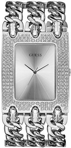 GUESS Ladies' Rocker Metal Silver-Tone & Crystal Watch on shopstyle.com