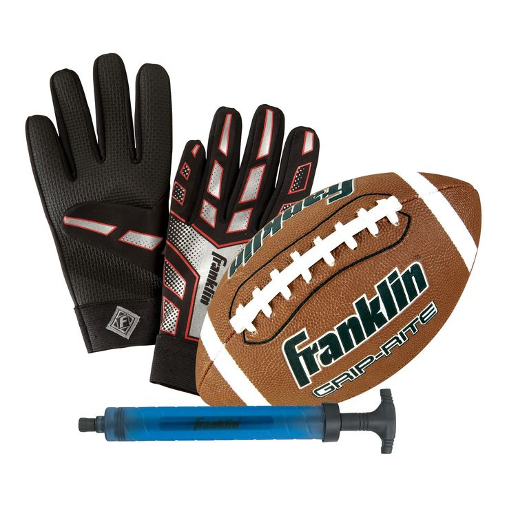 Franklin Junior Grip-Rite Football with Pump and Receiver Gloves, Brown