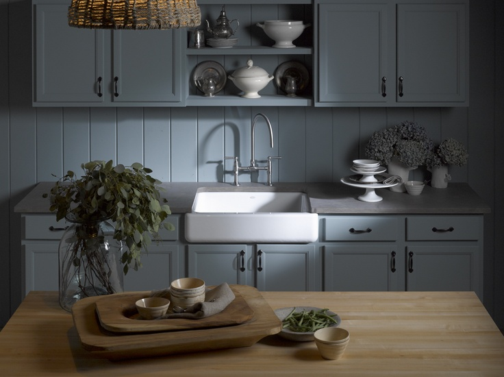 Apron-front sinks are a staple in a fab farmhouse kitchen.