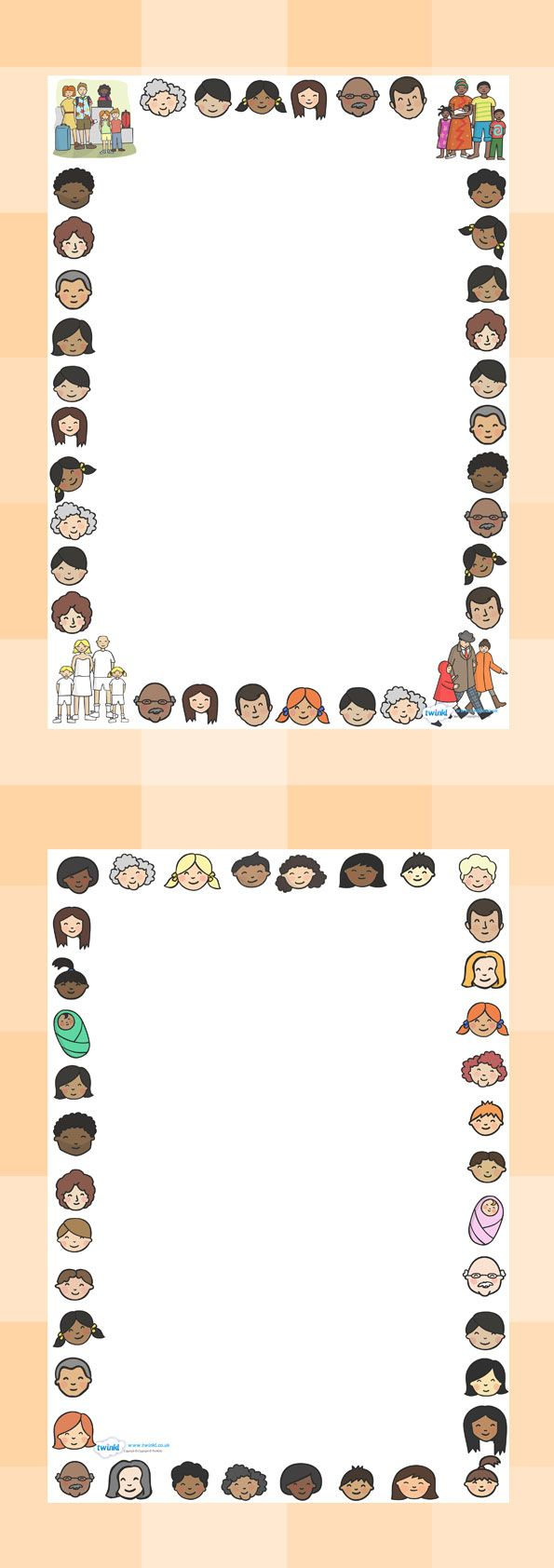 Twinkl Resources >> Family Page Borders  >> Classroom printables for Pre-School, Kindergarten, Elementary School and beyond! Topics, Ourselves, Family, Printable Writing Paper, Borders