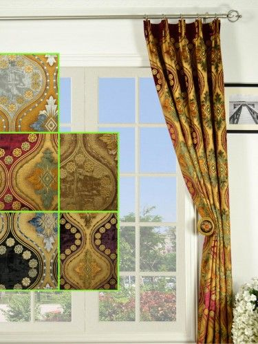 Maia Vintage Damask Versatile Pleat Velvet Curtains - Custom Curtains Drapes Draperies Sheers Rods and Tracks