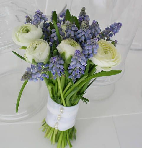 Grape hyacinths and ranunculus flowers (could use white peonies or roses)