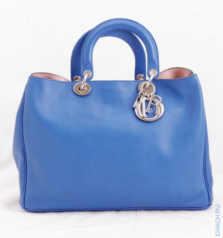 Сумка Dior Diorissimo Tote Bag из натуральной итальянской кожи синего цвета с серебристой фурнитурой