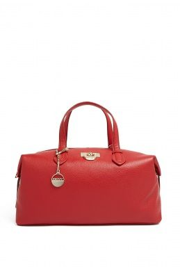 Red Heritage Vintage Leather East West Satchel by DKNY