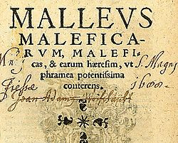 "Title page of the seventh Cologne edition of the Malleus Maleficarum, 1520 (from the University of Sydney Library). The Latin title is ""MALLEUS MALEFICARUM, Maleficas, & earum hæresim, ut phramea potentissima conterens."" (Generally translated into English as The Hammer of Witches which destroyeth Witches and their heresy as with a two-edged sword).[1] Author(s) 	Heinrich Kramer and, credited but under modern academic dispute, Jacob Sprenger Date: 1486"