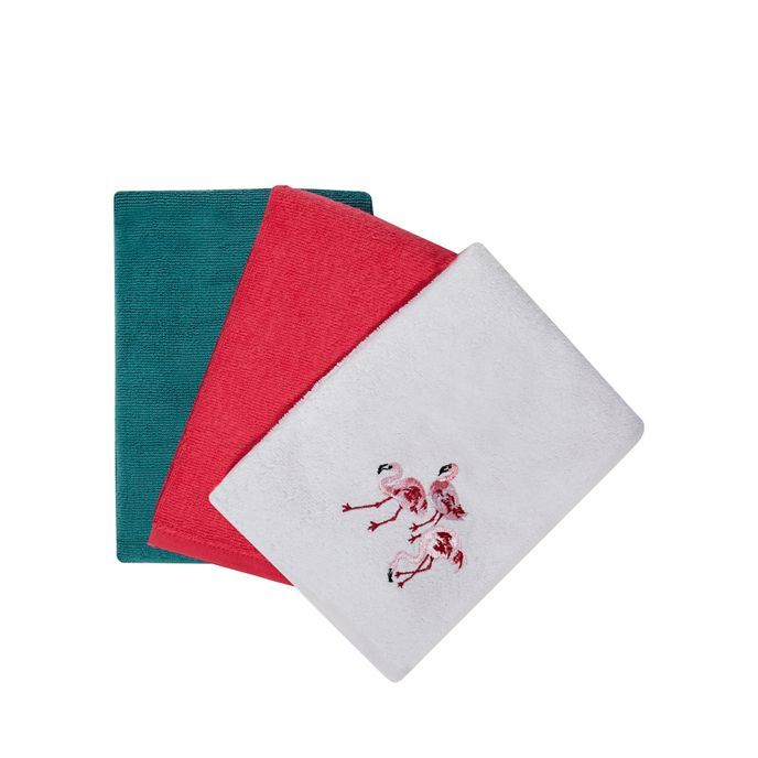At home with Ashley Thomas Set of three assorted plain and flamingo embroidered tea towels
