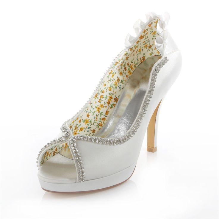 Kristall peep toe elfenbein weißen plattform hochzeit bankett brautschuhe 4 zoll high heels bridalmaid Pumpen der 521-37 ZHL //Price: $US $53.04 & FREE Shipping //     #clknetwork