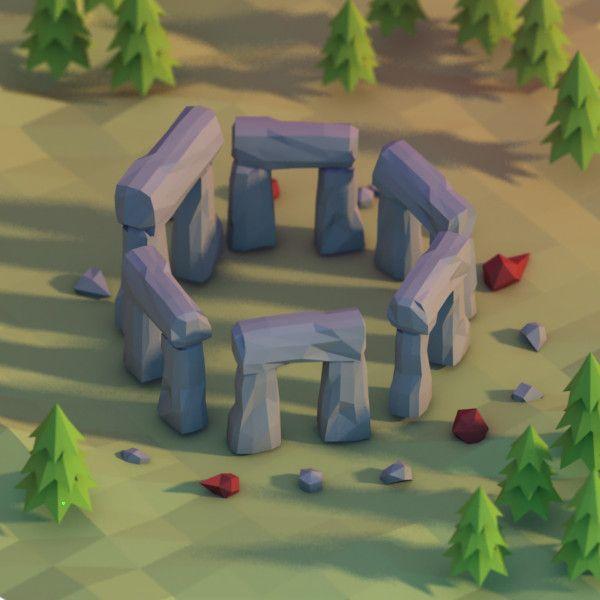 3d model of stone stonehenge