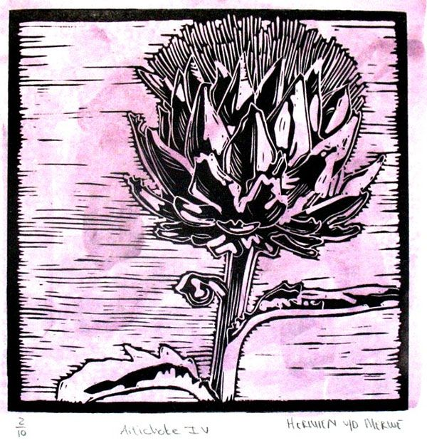 Title: Artichoke IV (Light Purple) Medium: Linotype Edition: 2/10 Size: 200 x 200mm Artists thoughts: Artichokes are wholesome food with deeper symbolic meaning to me. The vegetable needs to be cooked well to be enjoyed. The hard outer layers need to be peeled away to get to the heart of the artichoke. God also peeles away our outer layers to get to our heart – He is interested in our hearts.