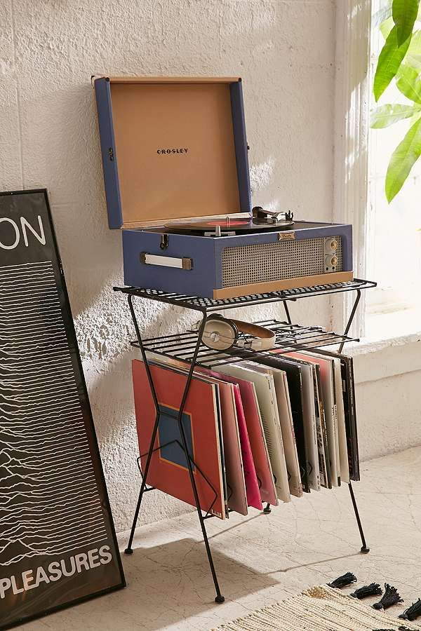 Slide View: 1: Metal Vinyl Storage Shelf