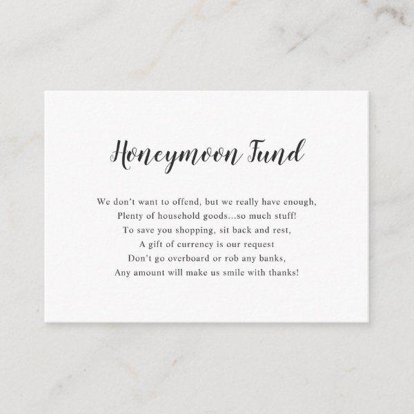 Simple White Honeymoon Fund Enclosure Card Zazzle Com Honeymoon Fund Typography Wedding Invitations Wedding Money