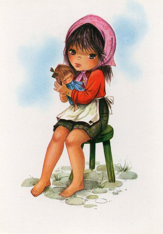 Vintage  Postcard 60s Sweet big brown eyed girl by CuteEyeCatchers, €3.50