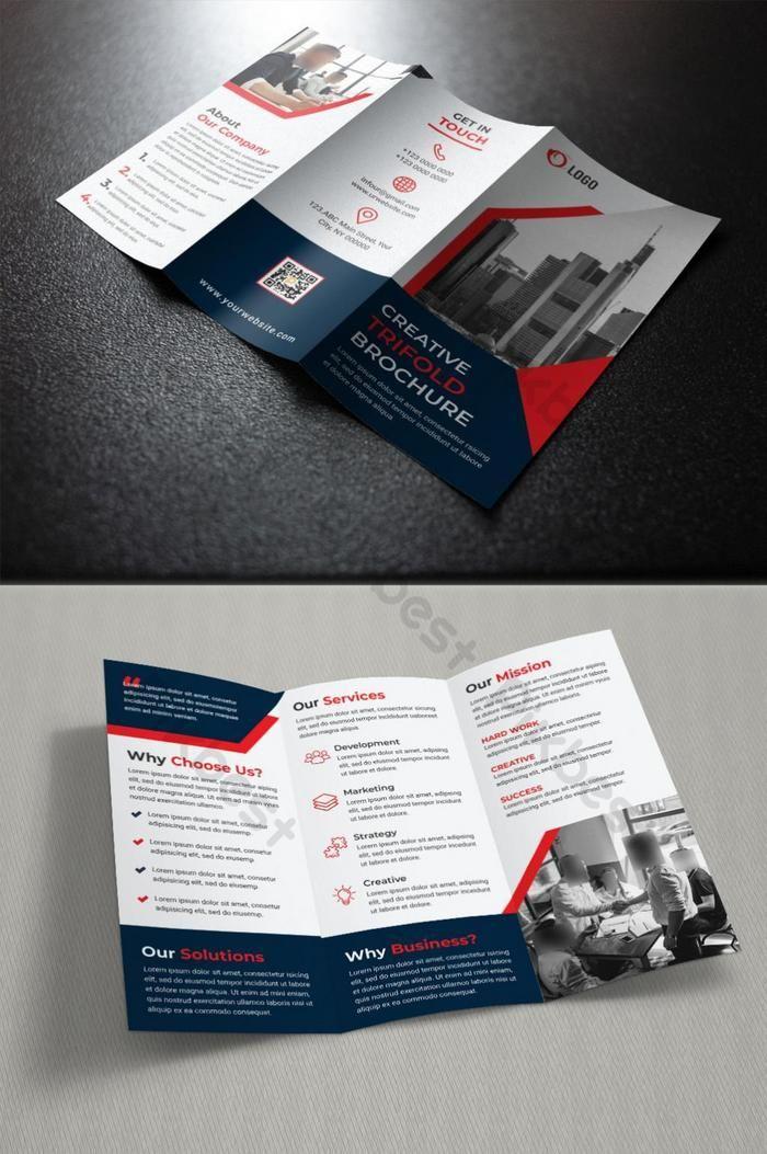 Templat Desain Brosur Lipat Tiga Perusahaan Templat Psd Unduhan Gratis Pikbest In 2021 Brochure Design Brochure Design Template Trifold Brochure Design
