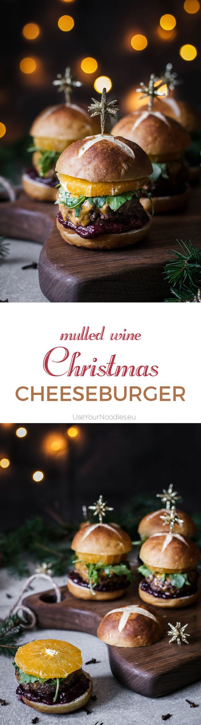 All the amazing tastes of Christmas in one mulled wine Christmas cheeseburger. Who says Christmas should be celebrated with a roast? Click to find the whole recipe or pin and save for later!