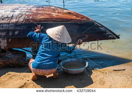 Hoi An, central Vietnam.  Fishing village - stock photo