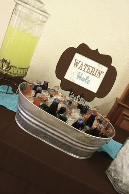 Waterin' hole - drink ideas - western cowboy baby shower