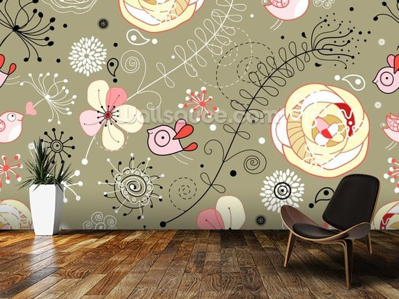 Floral Birds wall mural room setting