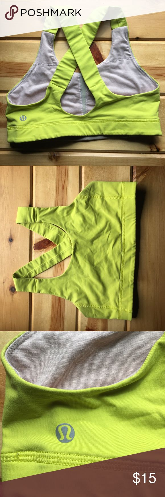 Neon yellow lululemon sports bra Size 6! Lululemon neon yellow sports bra, a few years old but still in great condition. lululemon athletica Intimates & Sleepwear Bras