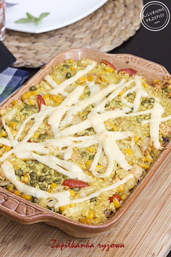 Zapiekanka ryżowa z kurczakiem, ananasem, warzywami i curry  Pycha. Polecam http://ulubioneprzepisy.com/2014/06/06/zapiekanka-ryzowa-z-kurczakiem-i-warzywami/ #ryz #zapiekanka