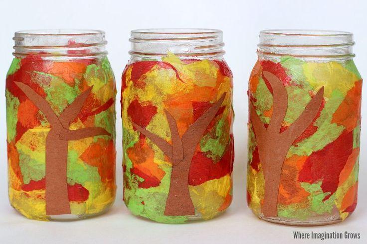 Mason Jar Fall Tree Luminaries Craft for Kids