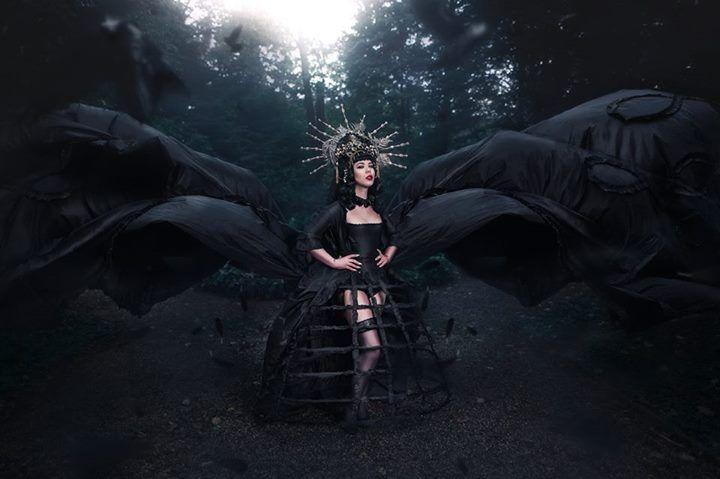 """Royal nightmare""  Model: Alien painkiller  Photography by Taydoo  Dress by Johanna Macht  Headdress by Jumeria Creations  Elizabethan choker by Noir Romantique"