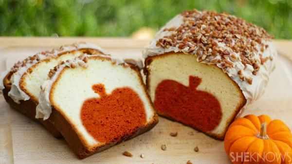 Slice this brown butter-iced pound cake to reveal the pumpkin surprise inside.