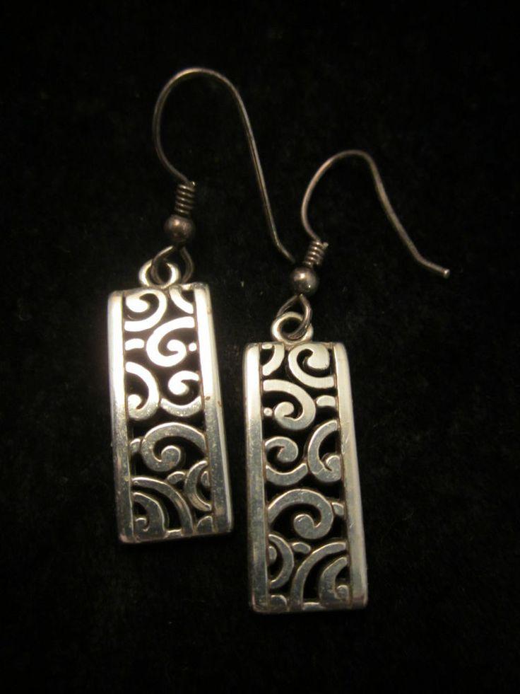 Brighton 1 2 Silver Tone Filigree Pierced Dangle Earrings A51