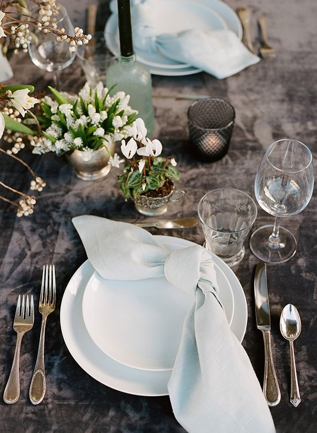 Elegant tablescape with velvet linen and a variety of potted plants and small single floral arrangements by loop flowers, la tavola linen, christina mcneill.