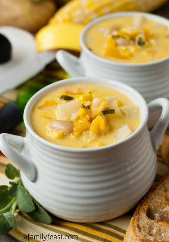 Fall Harvest Vegetarian Corn and Butternut Chowder - A quick, easy and super flavorful vegetarian chowder made with seasonal ingredients. WOW - this is delicious!