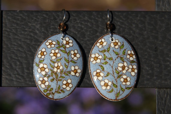 Tiny White Flower Vine Goose Egg Pysanky Earrings by AnsleyLarsson, $38.00