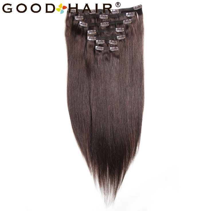 GOOD HAIR PRODUCTS Straight Clip In Human Hair Extensions Brazilian Non-remy Hair Dark Brown Color 100% Human Hair 7pcs/set