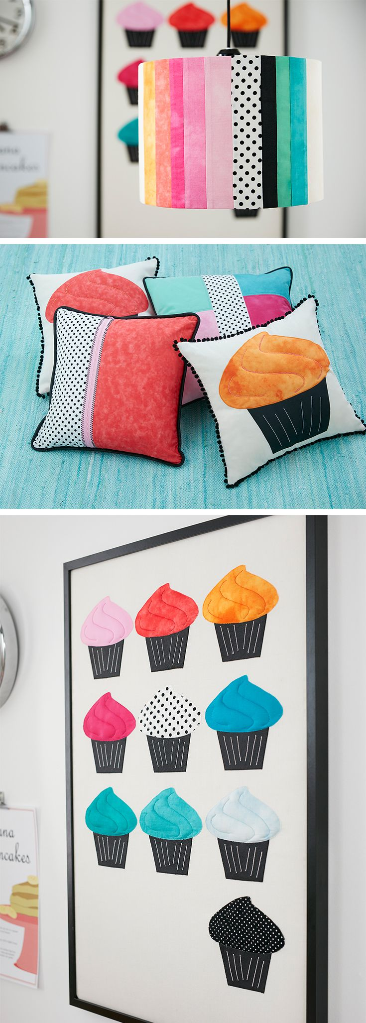 Find sewing instructions for these wonderful projects! #DIY #cupcake #pillows