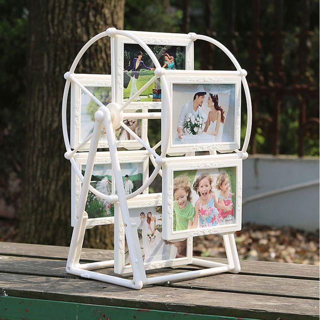 5 inç Beyaz Fotoğraf Çerçevesi Resim Çerçeveleri ile Dönme dolap Fırıldak Şekil heykel 12 adet fotoğraf Ev Dekor Yeni Hediye