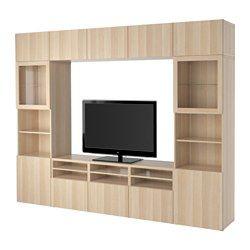 IKEA - BESTÅ, テレビ収納コンビネーション/ガラス扉, ラップヴィーケン/シンドヴィーク ホワイトステインオーク調 クリアガラス, 引き出し用スライドレール プッシュオープン, , テレビなどの機器のケーブルを簡単に目隠しできます。テレビ台の裏側に配線口が複数あるので便利です
