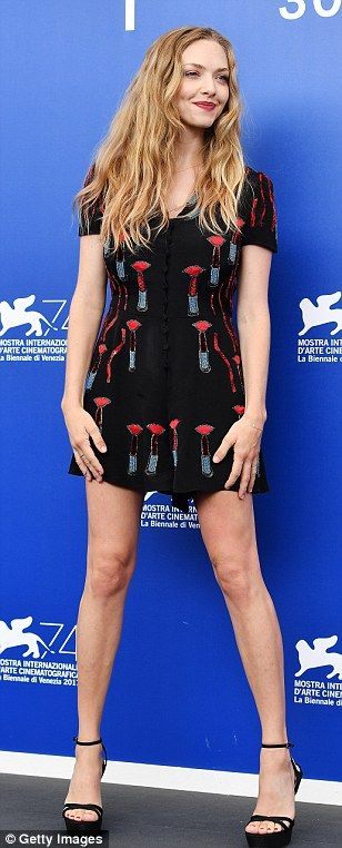 "Pucker up in a Valentino lipstick print playsuit like Amanda Seyfried Click ""Visit"" to buy #DailyMail"