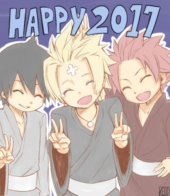 Zefuf, larcade and natsu -- a little late but happy new year from the dragneel boys