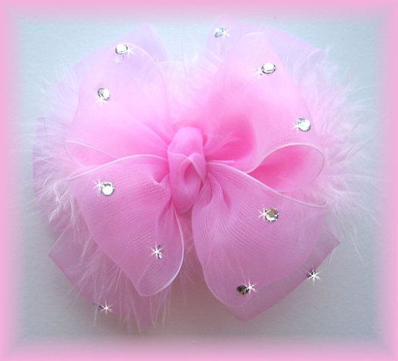 Baby Girl Princess Bling Boutique Hairbow Bow Feather Bling Swarovski on Etsy, $10.95
