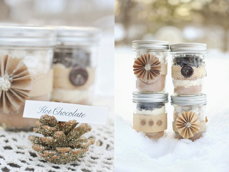 #wedding #favors #hotchocolate What a great idea for a winter wedding favor....hot chocolate mix in a decorative jar!