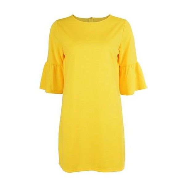 Flare Sleeve Yellow Zipper Back Tunic Dress ($24) ❤ liked on Polyvore featuring dresses, yellow, pattern dress, elbow length sleeve dresses, back zipper dress, sleeved dresses and bell sleeve dress