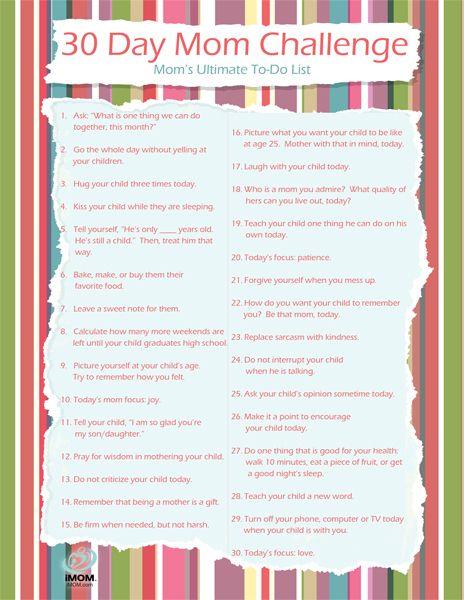 30 Day Mom Challenge (Printable) | Raising Godly Children