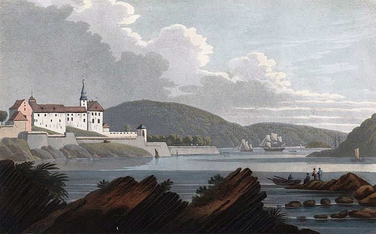"""Castle of Aggerhus (JW Edy plate 53). English: """"Castle of Aggerhus"""" Norsk bokmål: «Aggerhus fæstning» Drawing by John William Edy (1760-1820) from his journey along the coast of Norway during the summer of 1800. Published in Boydell's picturesque scenery of Norway in 1820."""