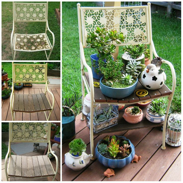Recycled chair and recycled slats... The only new item with this project were the screws..