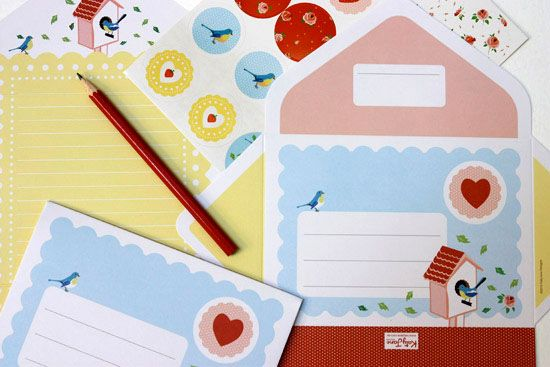 Letter Writing Pad - Great for kids or the young at heart - Bluebird design. New from http://www.katyjane.com.au/html/letter_writing_pad.htm#
