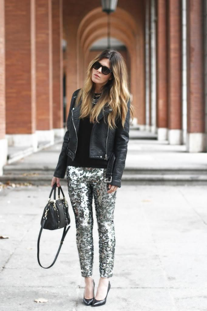 11 cool girl new year's eve outfit ideas - leather biker jacket, black heels + gold sequin pants: