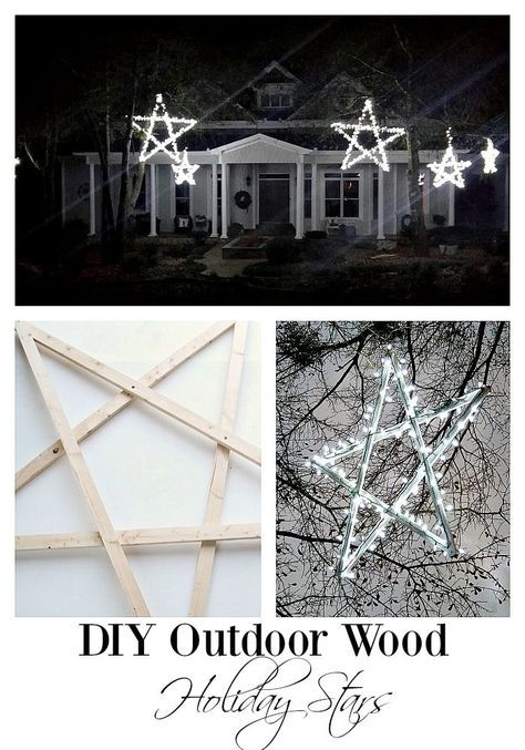 DIY Outdoor Wooden Lighted Stars Holidays Christmas Christmas