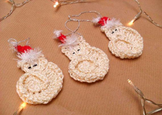 Christmas tree ornament crochet cats santa hats set