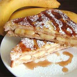 Peanut Butter and Banana French Toast - Allrecipes.com - Kevin wants to make this for me!