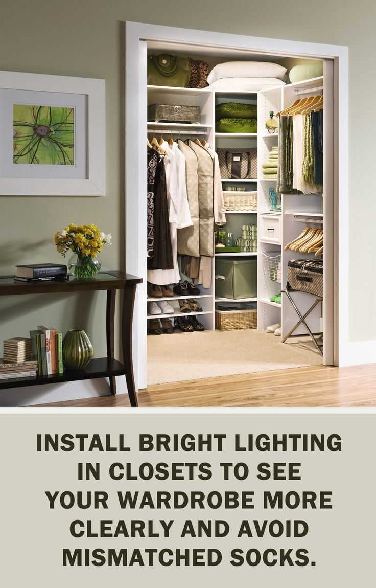 #LetsGetOrganized with @closetmaid: Install bright lighting in closets to see your wardrobe more clearly and avoid mismatched socks. #Storage #Organization #Closet #StorageTips