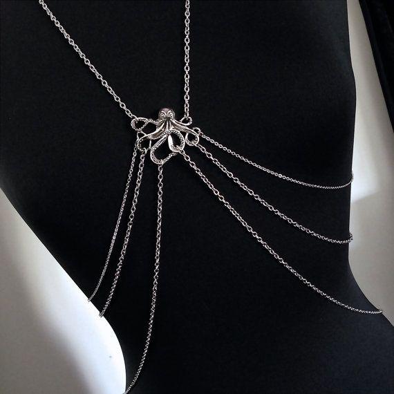 Steampunk Octopus Körper Silberkette  Body Harness / von JessoJools
