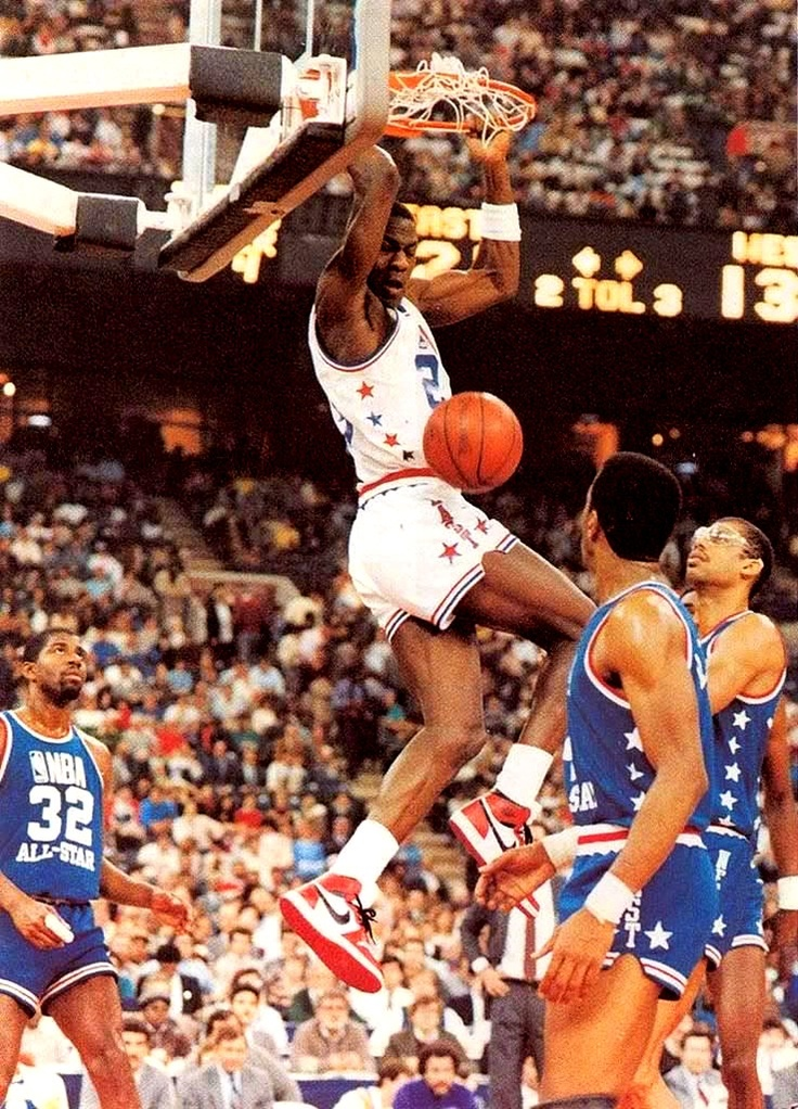 Rookie Michael Jordan Of The Chicago Bulls Played His First Game At 1985 NBA All Star From Indianapolis IN West Beat East As Ralph Sampson